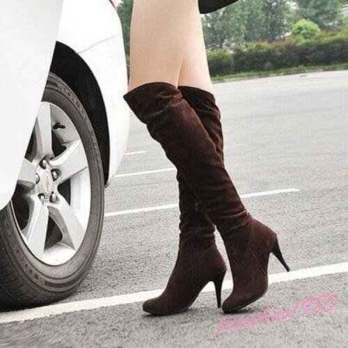 Femme Mide Mollet Bottes Hautes Femmes STILETTOS Talon Haut Stretch chaussures chic