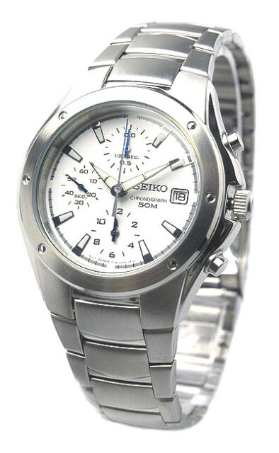 SEIKO Chronograph Men's White Dial Stainless Steel Watch SND559 SND559P1