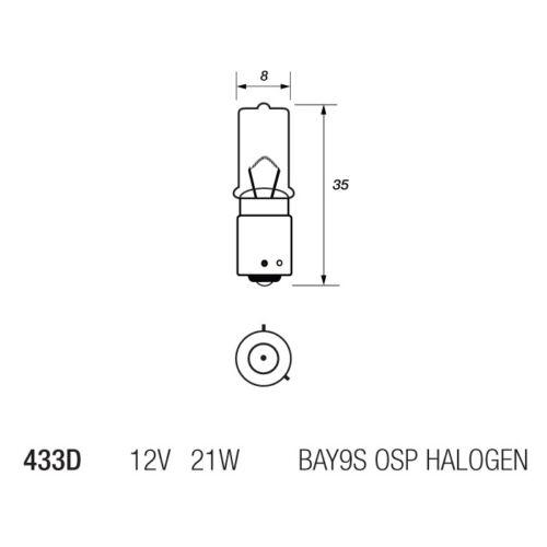 433D H21W Minature Halogen Brake Indicator Reverse Fog Bulb 435 12v 21w Off Set
