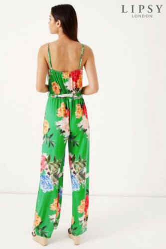 LIPSY jersey summer bright green floral print  Cami Wrap Jumpsuit 6//8//10//16