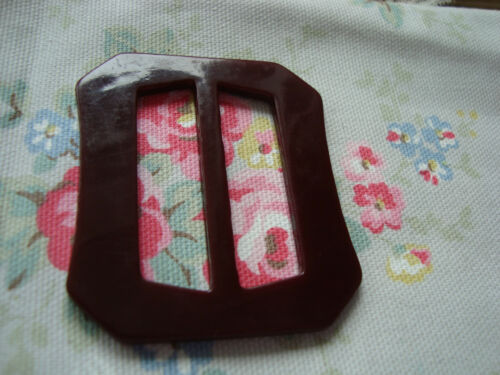 Burgundy Cut Corner  1940/'s Unused Plastic  Buckle