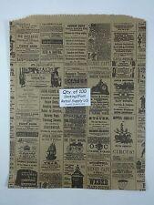100 Qty 12 X 15 Newsprint Design Paper Merchandise Bag Retail Shopping Bags