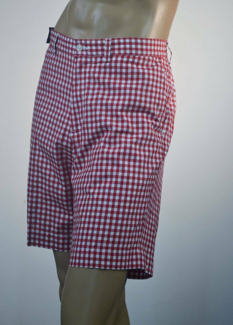 Ralph Lauren Men Red & White Cotton Plaid Shorts  Size 38 NWT