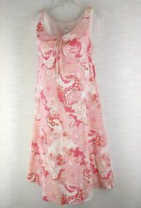 12P-Liz-amp-Co-Pink-Sleeveless-100-Cotton-Lined-Keyhole-Tie-Boho-Floral-Dress