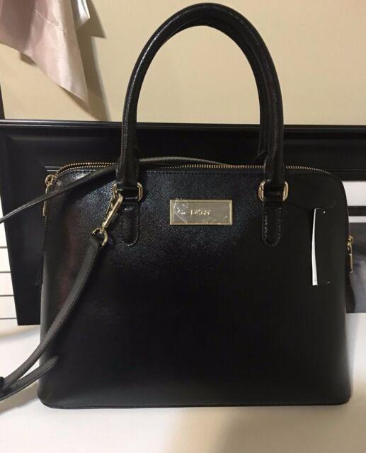 Nwt Dkny Black Shiny Saffiano Leather Dome Satchel Handbag 743511406 248