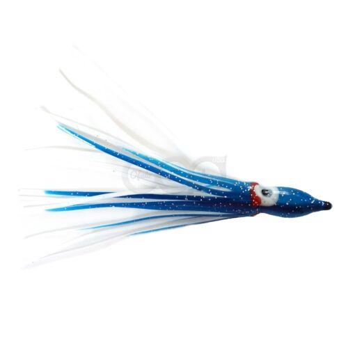 "50pcs 4.75/"" Blue White Squid Skirts Hoochies Rock Fish soft plastic Lures Bait"