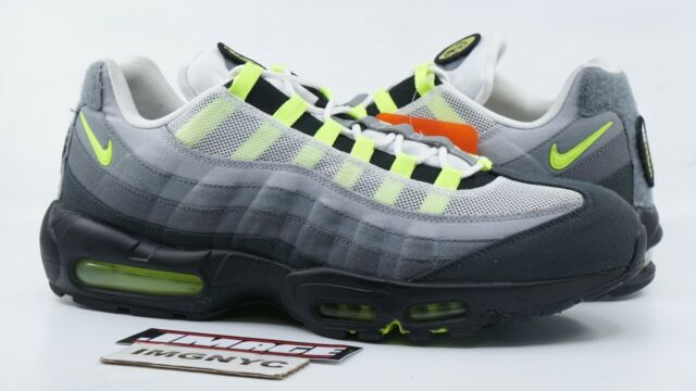 NIKE AIR MAX 95 SP USED SIZE 14 NEON PATCH WHITE NEON YELLOW BLACK 747137 170