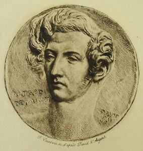 Actif Antique Print Alfred De Musset Médaillon D'après David D'angers C1850 Courboin S