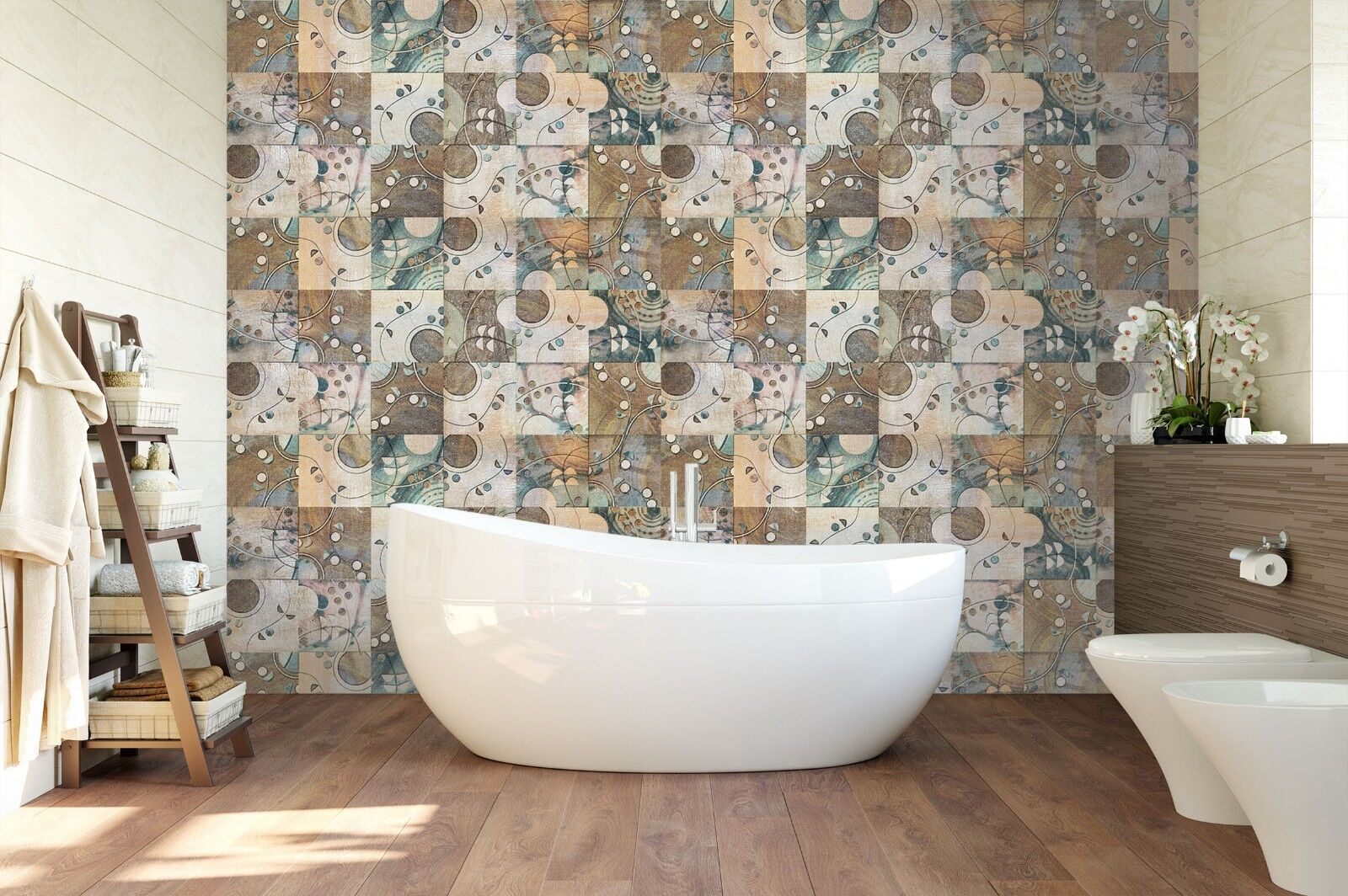 3D 3D 3D Half Flower Pattern 4 Texture Tiles Marble Wall Paper Decal Wallpaper Mural b86685