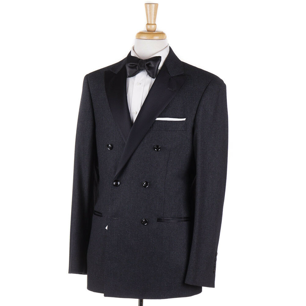 NWT 5145 BRUNELLO CUCINELLI Charcoal Flannel Wool-Cashmere Tuxedo 40 R Suit