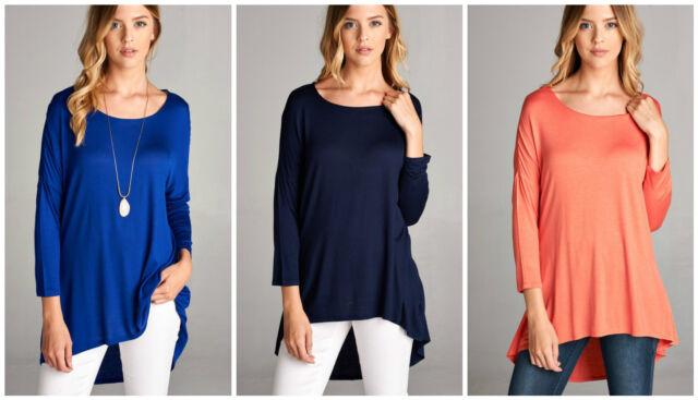Women Hi Lo 3/4 Sleeve Tunic Top T-shirt Blouse