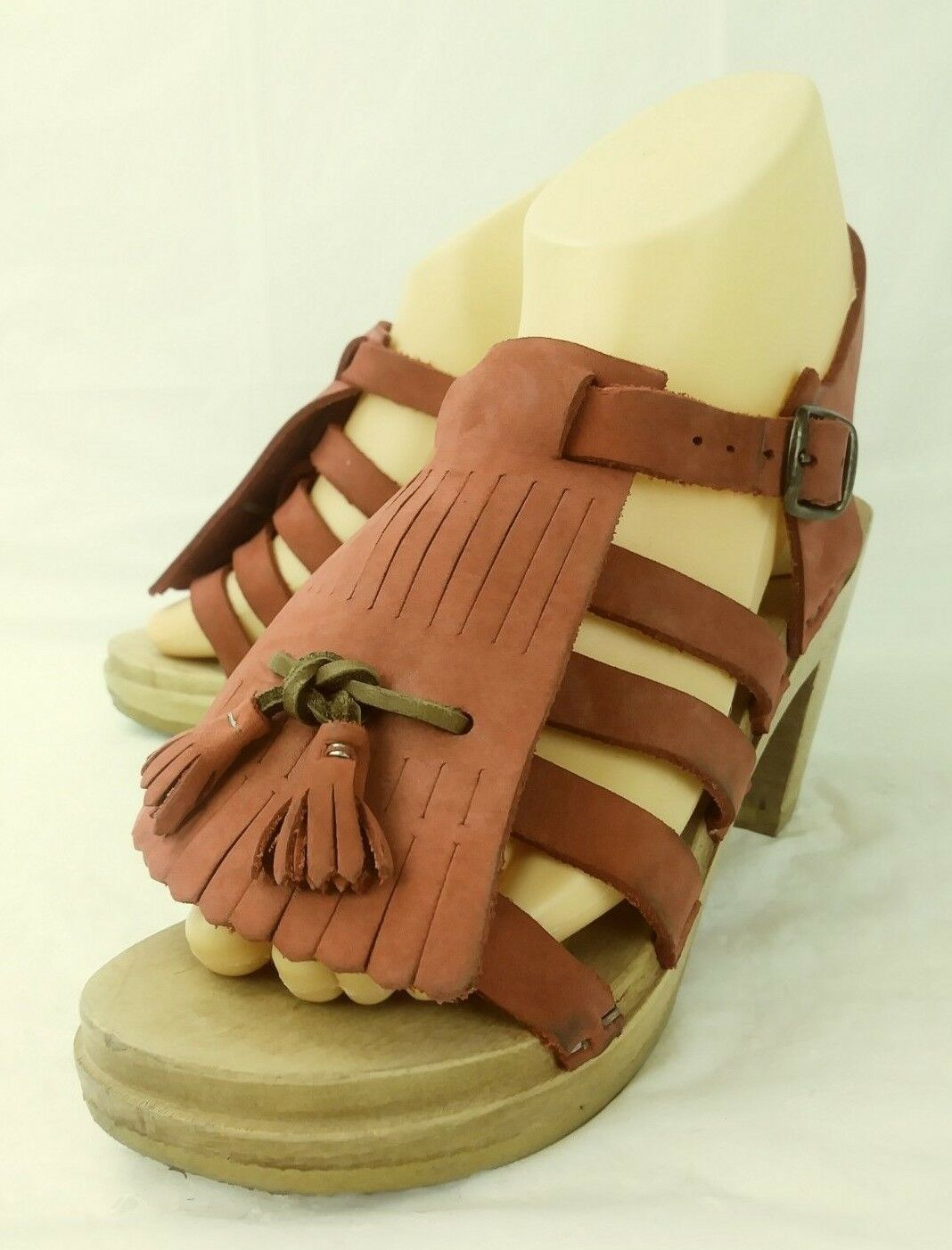 femmes chaussures Sandals EU 36 rouge Leather Wood Heel Kiltie Tassels Summer 5435