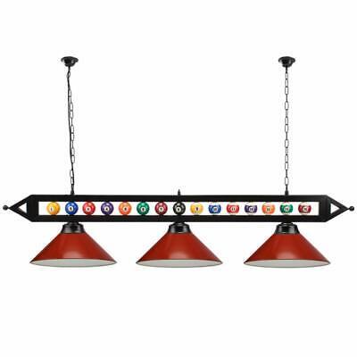 59 Billiard Pool Table Lighting Fixture With 3 Metal Lamp Shades For Room Ebay