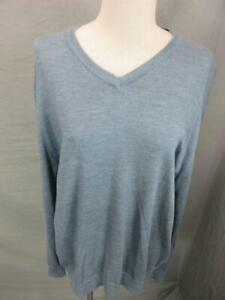Banana Republic Size L Mens Blue 100% Merino Wool Long Sleeve V-Neck Sweater