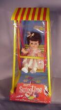 "vintage 1960's Jolly brand Baby Doll 16"" vinyl  w/  hard plastic swing set MIP"