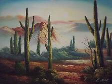 wüste landschaft l ölgemälde leinen mexico cactus kakteen mountain original