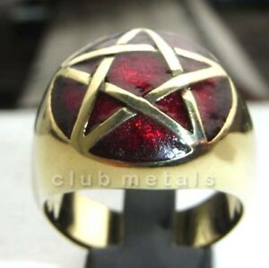 Ruby-Red-Tantra-PENTAGRAM-PENTACLE-MEN-039-S-BRONZE-POWER-RING-ALL-SIZES-WICCA