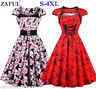 Plus Size Vintage Rockabilly Swing Dress Cap Sleeve Flared Housewife Cocktail