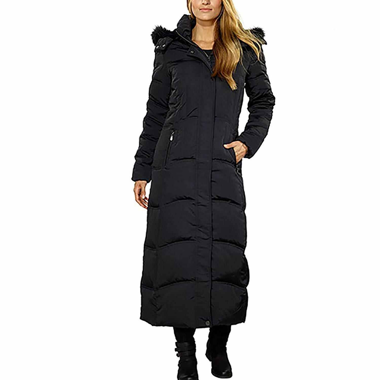 1 Madison Maxi Down Coat with Detachable Faux Fur Hood for Women