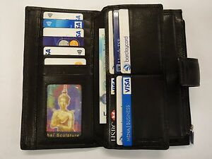 Leather-Purse-Wallet-Organiser-Extra-Large-Many-Features-Top-Brand-Black-RFID