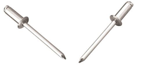 6.4mm x 22mm Blind Pop Rivets Dome Open Aluminium Body Steel Stem 100PK
