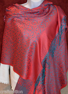 Turquoise-dots-red-silk-blend-Shawl-Stole-Wrap-from-India