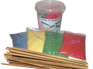 1kg gelber Vanille Zucker,Farbaromazucker+50 Zuckerwattestäbe für Zuckerwatte