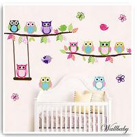 Animal Wall Stickers Owl Monkey Jungle Zoo Tree Nursery Baby Bedroom Decals Art