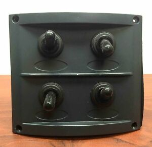 rv marine black waterproof boat switch panel with fuses. Black Bedroom Furniture Sets. Home Design Ideas
