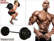 Barbell Vinyl Weight Set 100Lb Gold's Gym Home Equipment Adjustable Bar Lifting