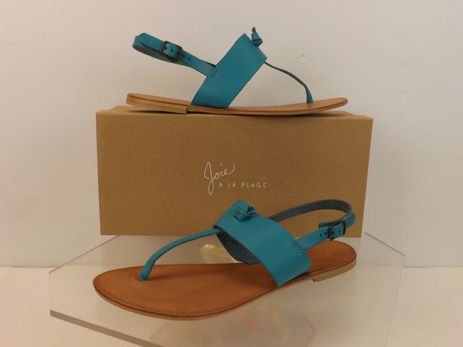 NIB JOIE BASTIA blu LAGOON LEATHER THONG FLAT SANDALS 38.5  135 ITALY