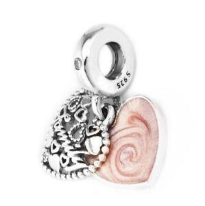 642f455e8 Authentic Pandora Charm Silver Love Makes a Family Pink Enamel Bead ...