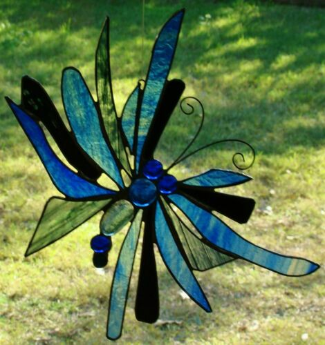 Huge ULYSSUS BUTTERFLY Stained Glass Suncatcher Crafted by Australian Artist