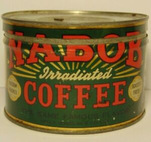 Old-Vintage-1950s-NABOB-COFFEE-TIN-ONE-POUND-GRAPHIC-COFFEE-TIN-VANCOUVER-CANADA