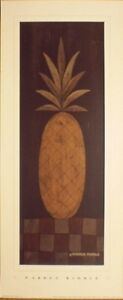 art-print-CHECKERBOARD-PINEAPPLE-Warren-Kimble-fruit-folk-primitive-8x19