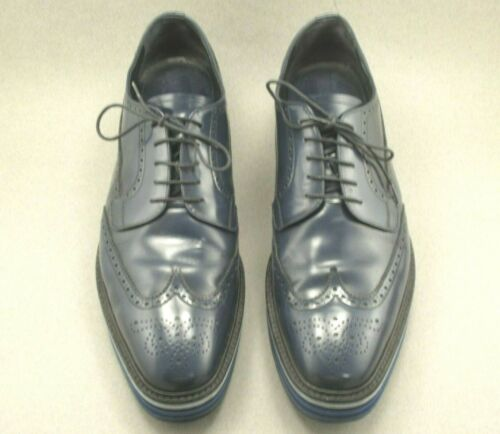 PRADA BLUE  BROGUE PLATFORM DERBY SHOES SIZE 13