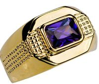 Alexandrite Simulated Dot Men's Ring 18k Gold Overlay Size 9