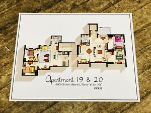 Image Is Loading Friends Tv Show Apartment Floorplan Art Print Poster