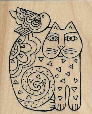 STAMPENDOUS ~ FELINE FRIEND ~ Wood Mounted Stamp by Laurael Burch FREE SHIPPING