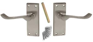 7 x Victorian Scroll Satin Chrome Door Handle Latch Set