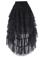 Retro Victorian Steampunk Gothic Chiffon RufflesSkirt Bustle Skirt Dresses Black