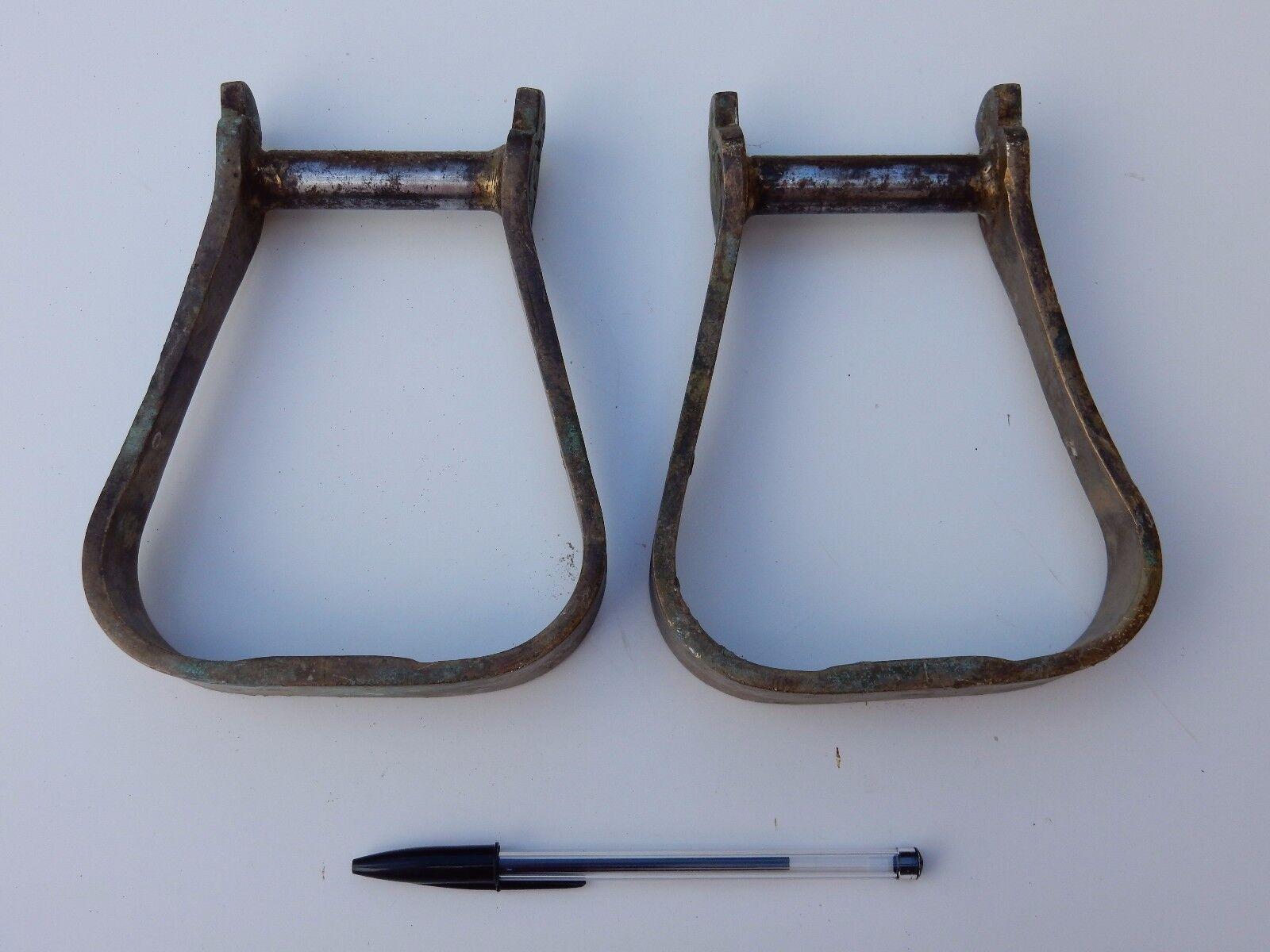 BRASS STIRRUPS a vintage pair   to restore