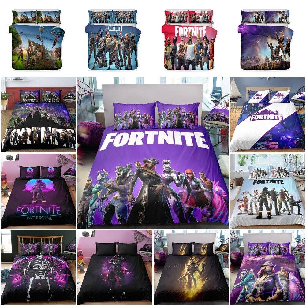 3D Fortnite Game Battle Royale Bedding Sets 2PC//3PC Duvet Cover /& Pillowcase UK