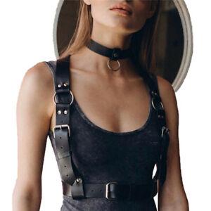Women Leather Harness BDSM Goth Bondage Waist Bra Strap Suspender Garter Belt