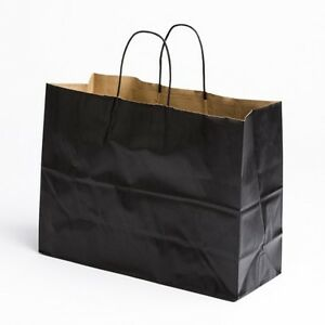 16 x12 Large Paper Black Retail Merchandise Shopping Bags w ...