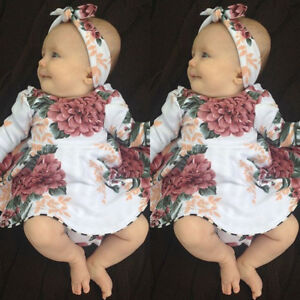 USA Stock Newborn Baby Girls Long Sleeve Floral Dresses 2PCS Outfit Clothes wea