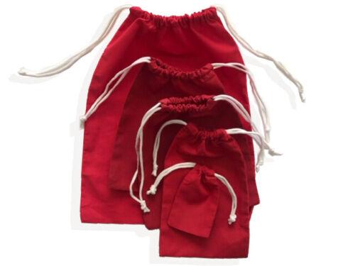 Red Cotton Reusable Produce Muslin Bags –Multipurpose Christmas Holiday Bag Sack