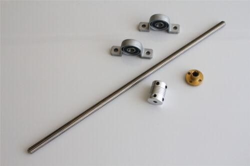 T8 Lead Screw Set Lead 2//8mm Coupling Mounting Bearing 3D Printer 100-1200mm