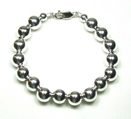 Sterling Silver 10mm Bead Bracelet 7""