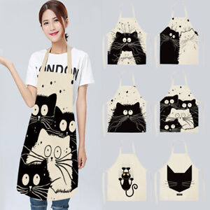 Waterproof-Cafe-Shop-Restaurant-Apron-Kitchen-Cute-Cat-Printed-Cooking-Aprons